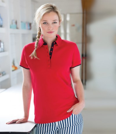 Ladies Contrast Cotton Piqué Polo Shirt