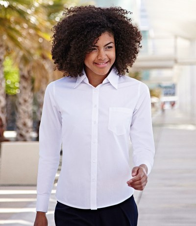 Lady Fit Long Sleeve Poplin Shirt