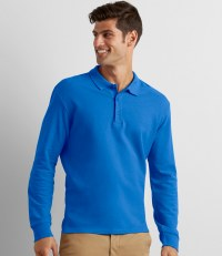 Long Sleeve Premium® Cotton Double Piqué Polo Shirt