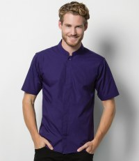 Short Sleeve Mandarin Collar Shirt