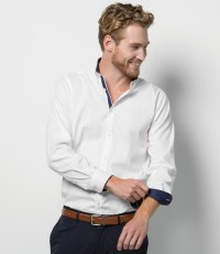 Long Sleeve Contrast Premium Oxford Button Collar Shirt