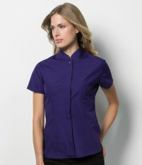 Ladies Short Sleeve Mandarin Collar Shirt