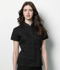 Bargear® Ladies Short Sleeve Mandarin Collar Shirt