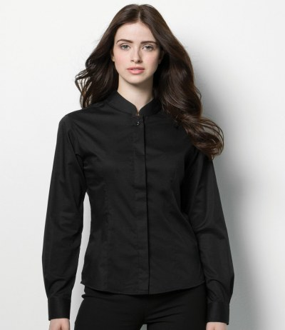 Bargear® Ladies Long Sleeve Mandarin Collar Shirt
