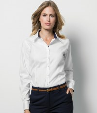 Ladies Long Sleeve Contrast Premium Oxford Shirt