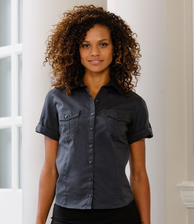 Ladies Short Sleeve Twill Roll Shirt