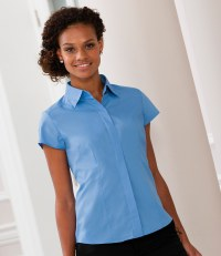 Ladies Cap Sleeve Fitted Poplin Shirt
