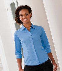 Ladies 3/4 Sleeve Fitted Poplin Shirt