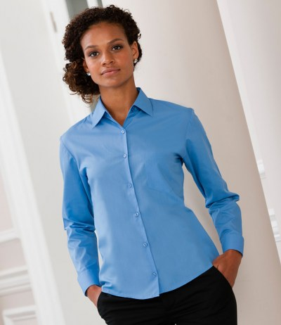 Ladies Long Sleeve Easy Care Poplin Shirt