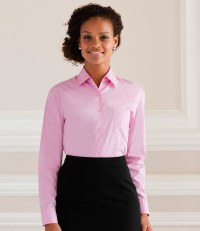 Ladies Long Sleeve Easy Care Cotton Poplin Shirt