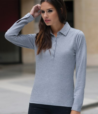 Ladies Long Sleeve Stretch Polo Shirt