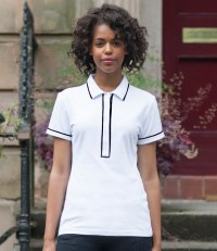 Ladies Contrast Piped Cotton Piqué Polo Shirt